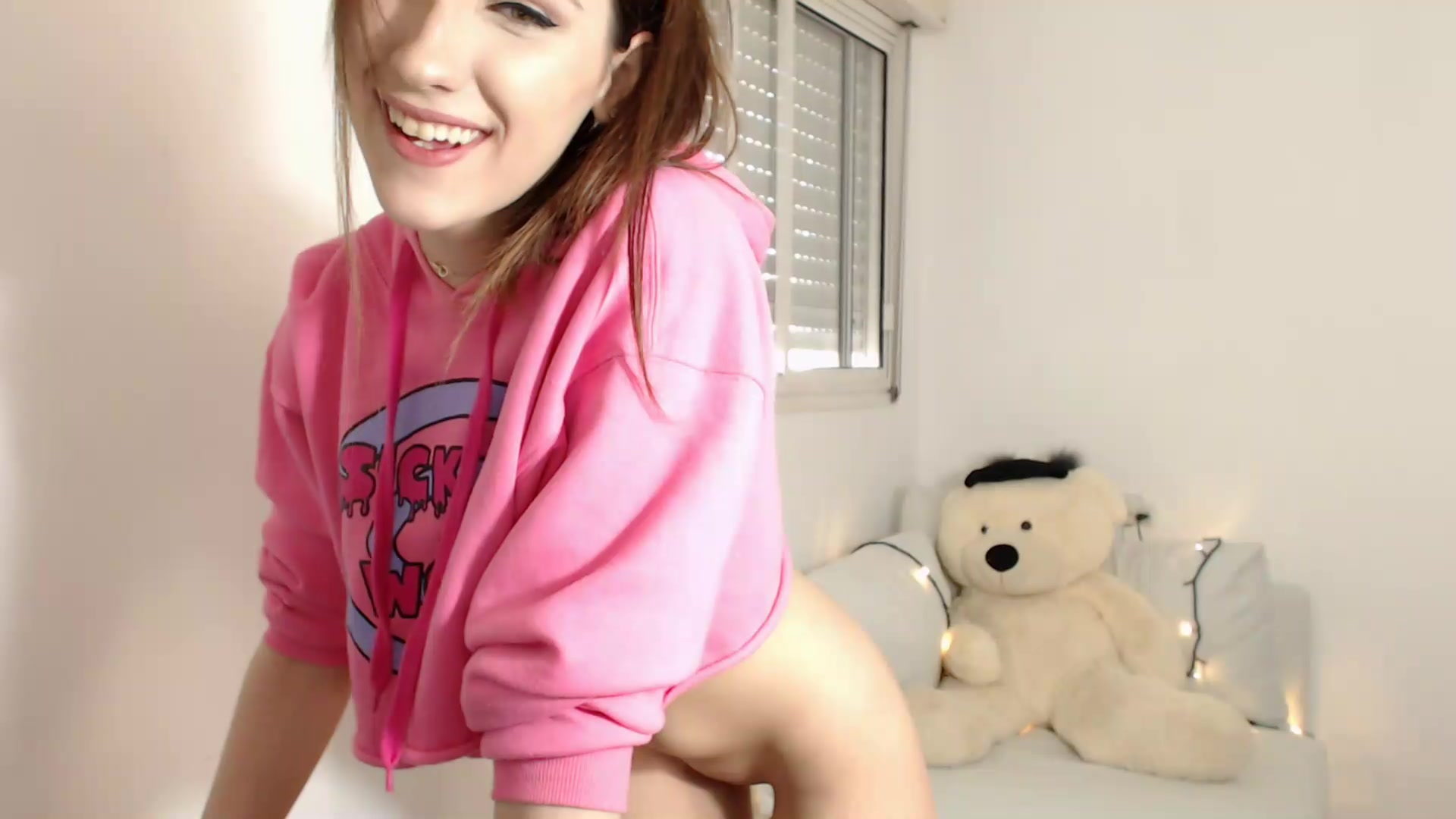 Skinny brunette PrincessCin plays on webcam